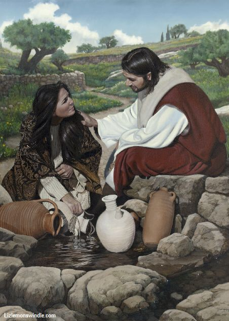 """One of my favorite stories in the New Testament.  LO  Woman At The Well By Liz Lemon Swindle """"How is it that thou, being a Jew, askest drink of me...for the Jews have no dealings with the Samaritans."""" The Savior then taught, """"Whosoever drinketh of the water I shall give him shall never thirst."""" (John 4)"""