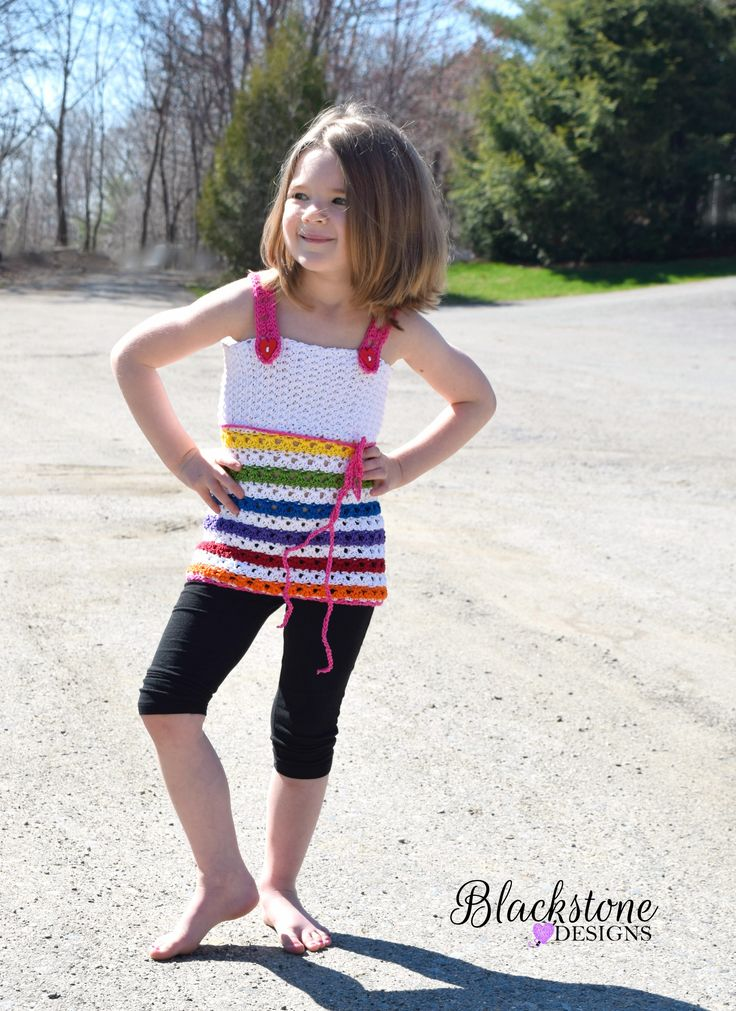 Gracie Lace Tank - Child Sizes crochet pattern from Blackstone Designs. Comes in sizes 2T - 12Y.  #crochet #tanktop #children #clothes #summer