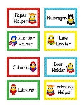 Minions Superhero Theme Classroom Jobs
