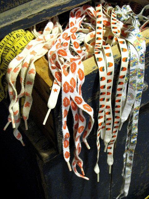"80s shoelaces....I had the ""lips"" ones they were my favorite!"