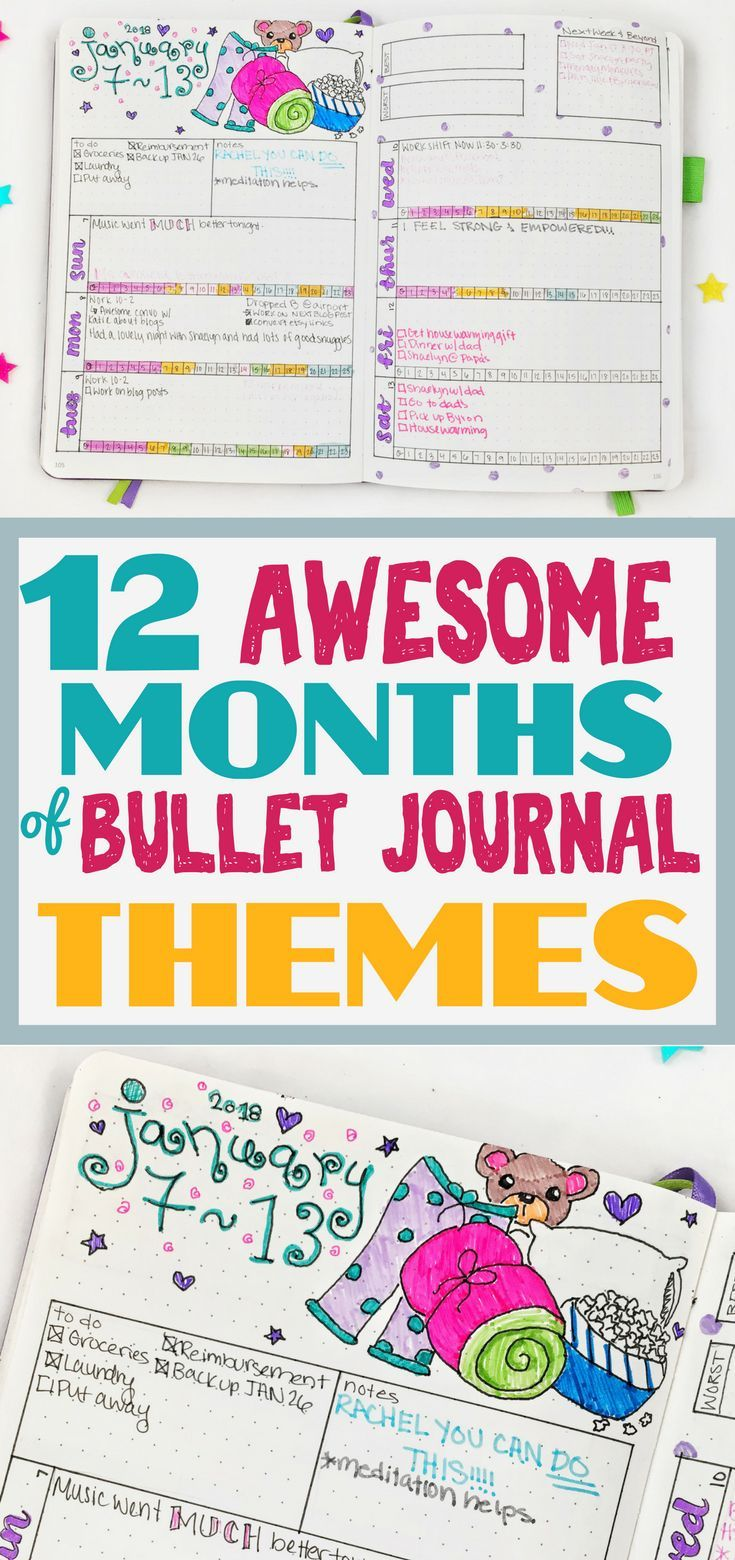 Lots of amazing bullet journal themes to spice up your bullet journal. Get an entire years worth of inspirational ideas to decorate your bujo spreads!