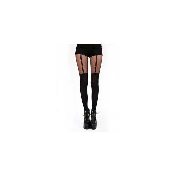 Pamela Mann | Pamela Mann Goth Cross Suspender Tights in Black as worn... ($16) ❤ liked on Polyvore
