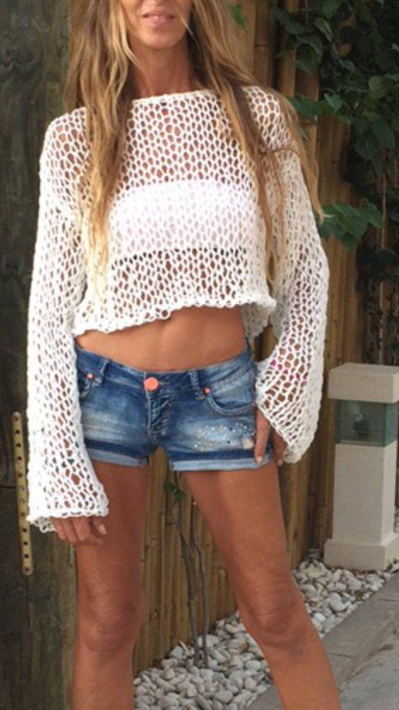 White crop to beach sweater beach wear ivory crop sweater