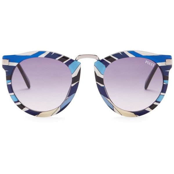Emilio Pucci Women's Rounded Sunglasses ($120) ❤ liked on Polyvore featuring accessories, eyewear, sunglasses, rounded glasses, round sunglasses, round sunnies, emilio pucci glasses and rounded sunglasses