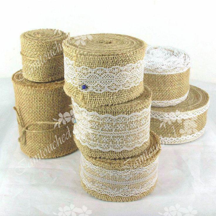 Hessian Burlap Ribbon Lace Trims Edge Natural Jute Tape Wedding Party Suppies #FENGRISE #WeddingEventPartyHomeDIY