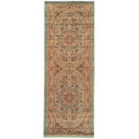 Sweet Home Stores Sweet Home Collection Medallion Design Ocean Green Indoor & Kitchen Runner Rug, Blue