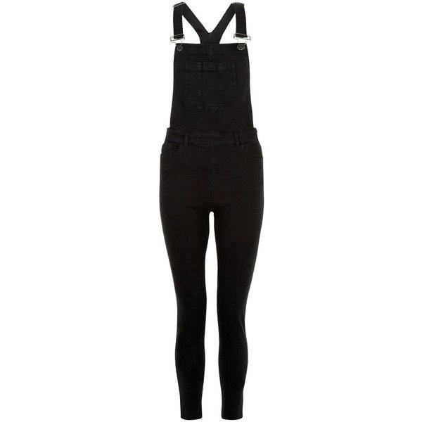 New Look Black Skinny Dungarees (£30) ❤ liked on Polyvore featuring jumpsuits, black, dungarees, skinny leg jumpsuit, summer jumpsuits and skinny jumpsuit