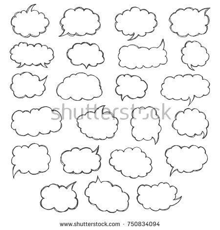 Think & talk speech bubbles. Artistic collection of hand drawn doodle style comic balloon, cloud and heart. Vector illustration in sketch style.