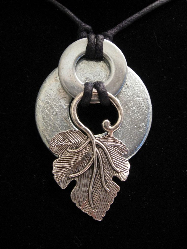 urban artifact necklace - distressed washer, shiny washer, silver leaf jewelry component.