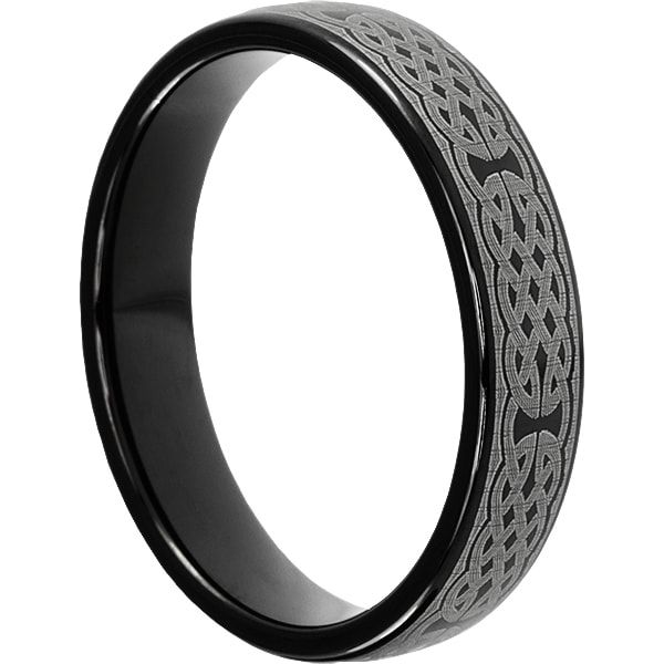 Crux Unique Wedding Band for Men | Black Celtic Dome Ring is a 5mm Width | Manufactured by Forever Metals.