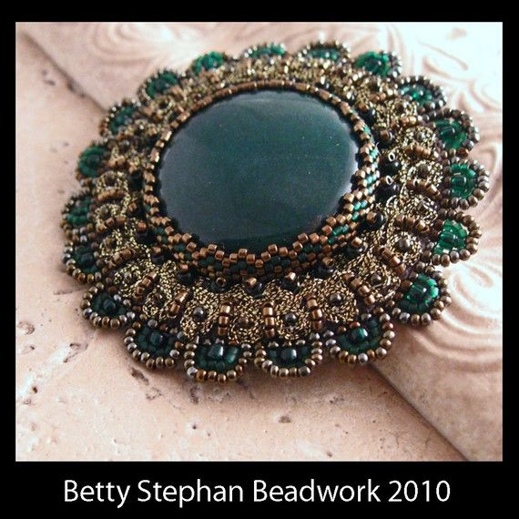 KIT Green Cabochon Pin with Braiding by BettyStephanBeadwork, $45.00