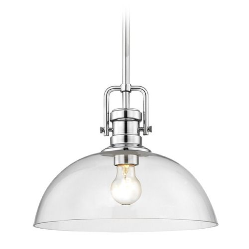 Industrial Chrome Pendant Light with Clear Glass 13-Inch Wide at Destination Lighting