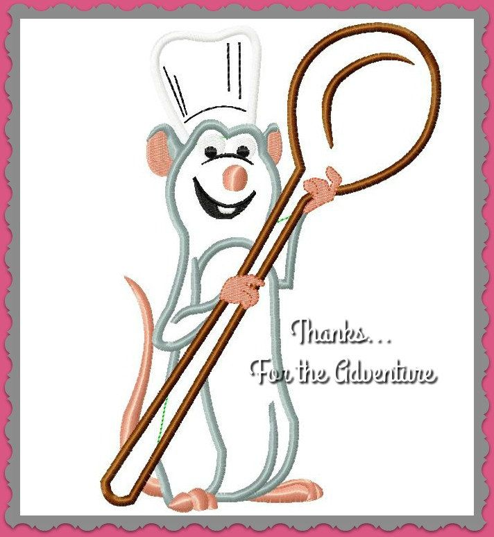 Remy the Little Chef from Ratatouille Digital Embroidery Machine Applique Design File 5x7 6x10 by Thanks4TheAdventure on Etsy