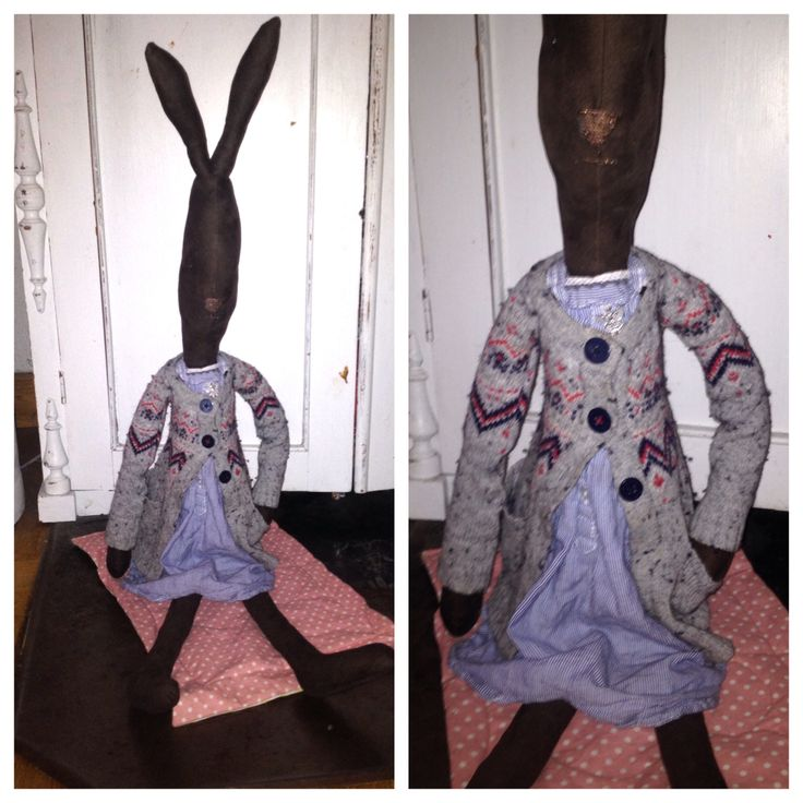 My newest home sewed bunny. Her cardigan is recycled from a favorite cardigan my daughter used when she was a baby. Gives the rabbit a sweet touch of memories.