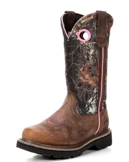 """<p style=""""margin: 0in 0in 0pt;"""" class=""""MsoNoSpacing"""">No matter if it's for work or play, women require the same overall protection and comfort on ones feet from the elements as men do. These pull on boots showcase camouflage uppers with pink stitching and combine well with brown feet. They are made with tough soles to keep your feet protected on difficult terrains. Pull tabs and dip openings make it easier in pulling on this fine footwear. Lining and cushioned insoles are a must to bring ..."""