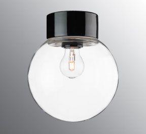 Ifö Classic Glob Vegg-/Taklampe Klart Glass Hvit/Sort 20 cm-69765