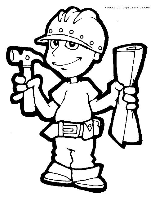 contruction worker job color page family people jobs coloring pages color plate coloring - Construction Worker Coloring Page