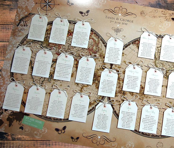 Vintage Style World Map Wedding Table Plan -Layered with Panels
