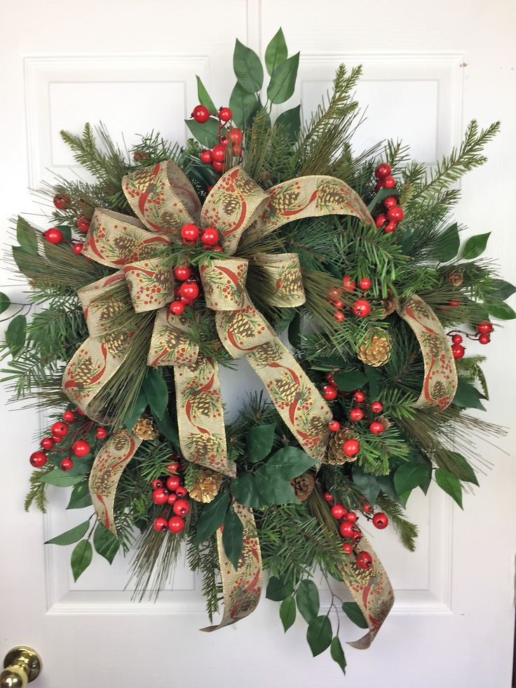 Traditional Christmas Wreath, Christmas Wreath,  Pinecones, Christmas Door Decor, Holiday Wreath, Evergreen Wreath, Holiday Wreath by HeatherKnollDesigns on Etsy