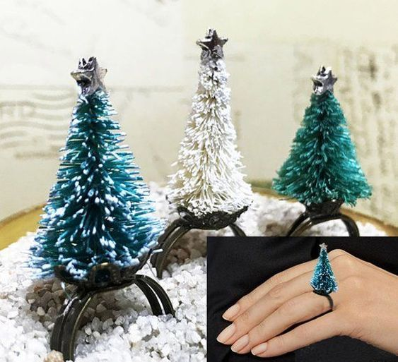 Christmas Tree Ring Bottle Brush Christmas Tree Christmas Decor Holiday Jewelry  Christmas Adjustable Ring Office Party