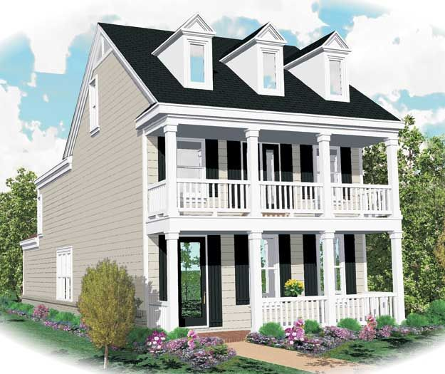 Impressive balcony above the covered porch on this southern style home southern house plan - Houses with covered balconies ...