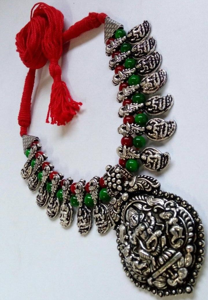 Paisley Thread Necklace Set With Oxidised German Silver Temple Pendant With Earring