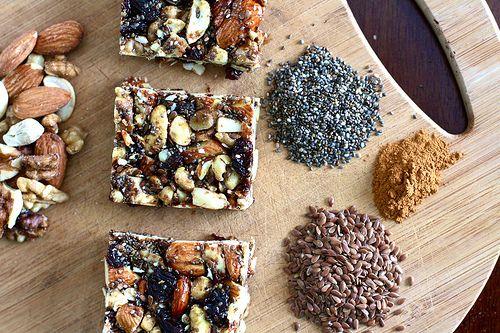 "Homemade ""Kind"" Granola Bars. Made with almonds, walnuts, cashews, raisins, chia seeds, flax seeds, pure syrup, honey, ground flax, vanilla, cinnamon, and salt."