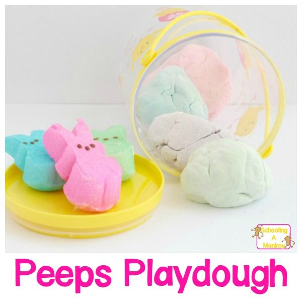 Soft and Edible Easter Peeps Playdough Activity for Kids