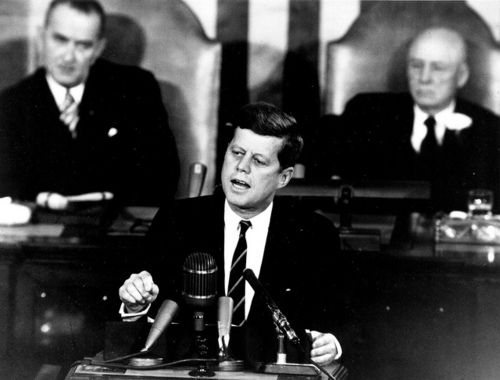 """lbjlibrary:    May 25, 1961. President Kennedy tells Congress:    """"…I believe this nation should commit itself to achieving the goal, before this decade is out, of landing a man on the Moon and returning him safely to the Earth.""""      Also, today is the 35th anniversary ofStar Wars. It's a good day for space!"""