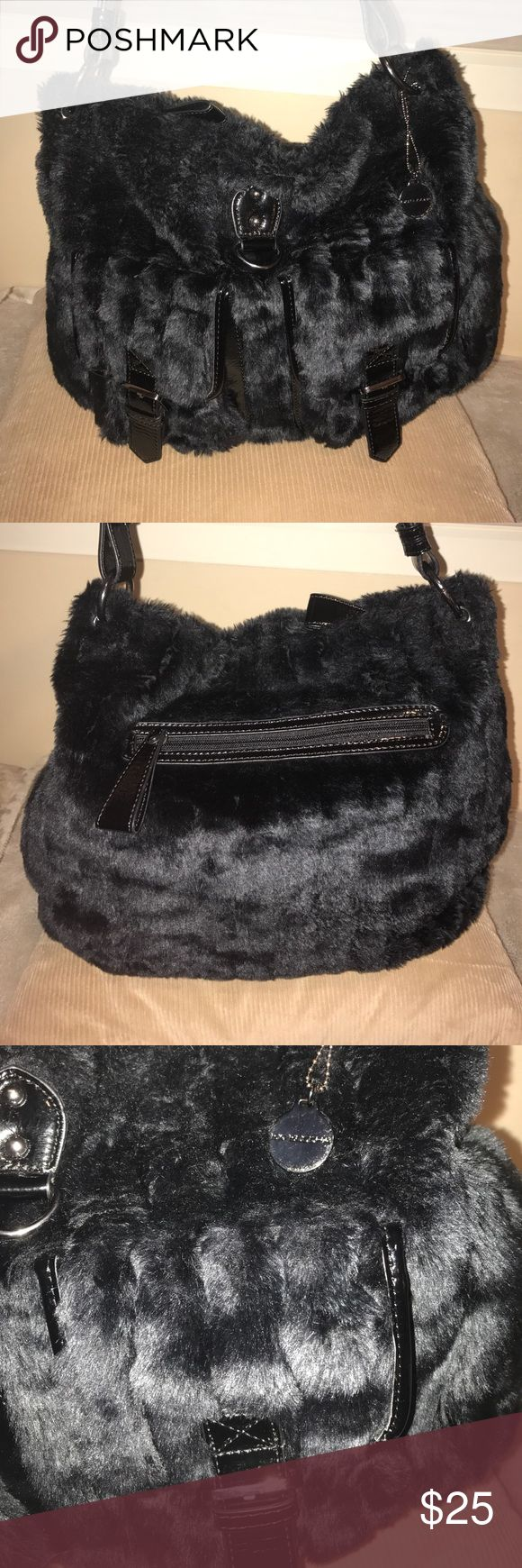 Big Buddha Faux Fur pocketbook This Big Buddha shoulder bag features fabulous black patent leather trim and silver hardware. In excellent condition. Offers are welcome! Big Buddha Bags Shoulder Bags