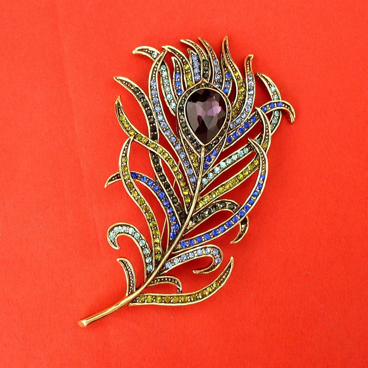 New Arrival Large Women Vintage Feather Bronze Brooch Pin Antique Gold Crystal Rhinestone Metal Jewelry Accessory, Item: BH7943