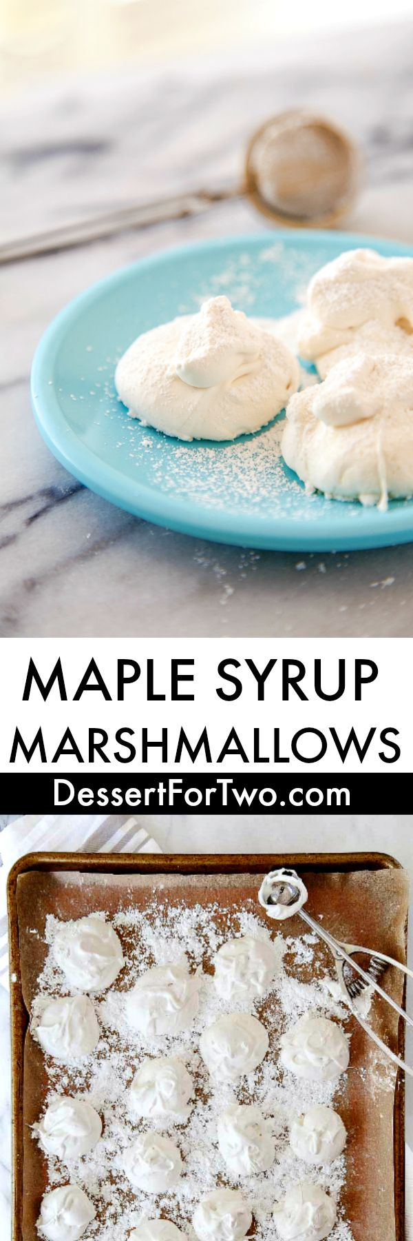 Marshmallows made without corn syrup. Maple syrup marshmallows. Clean eating healthy marshmallow recipe.