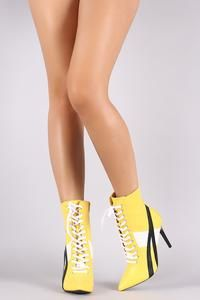 Wild Diva Lounge Colorblock Pointy Toe Lace Up Stiletto Sneaker Booties