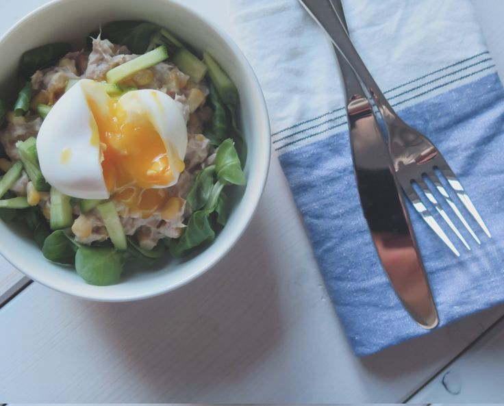 Something fishy on the blog! Tuna salad with soft-boiled. Perfect for lunch!