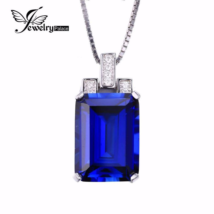12 best jewelry images on pinterest fine jewelry sterling silver emerald cut 94ct created blue sapphire pendant genuine 925 sterling silver no necklace mozeypictures Gallery