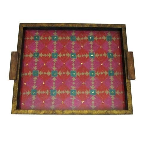 Wooden Red And Pink Embroidered Serving Tray  - FOLKBRIDGE.COM | Buy Gifts. Indian Handicrafts. Home Decorations.
