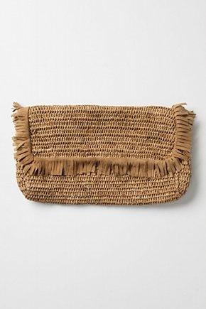 Thatched clutch: raffia clutch
