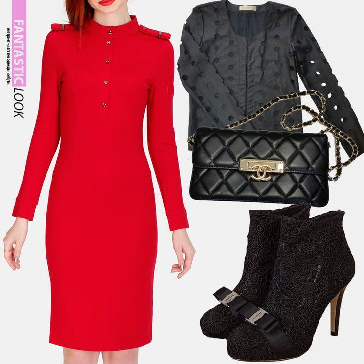 Добавь красок! Начинаем запасаться яркими вещами к весне;) Красное платье по фигуре скомбинируйте с укороченной курткой. Добавьте к образу элегантные ботильоны и сумочку-клатч. Красное платье BCBGMAXAZRIA, стоимость 4000 руб. Куртка Cellar Woman, стоимость 2600 руб. Кружевные ботильоны Dior, стоимость 6800 руб. Клатч Chanel, стоимость 3500 руб.