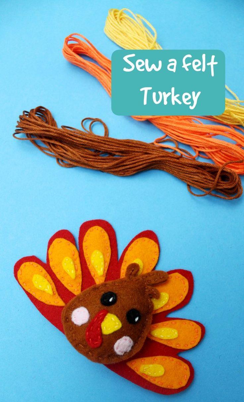 how to sew a felt turkey brooch