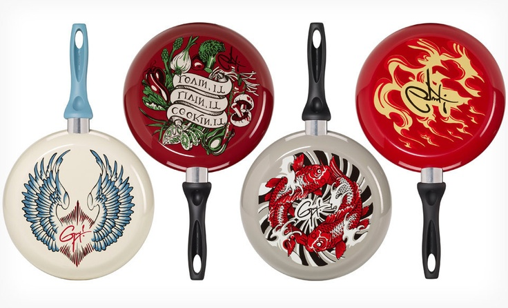 Guy Fieri cookware skillets. I really like the one with the koi fish. Image links through to our Groupon