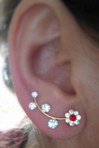 Ear Sweep Wrap - Cuff Earring with Swarovsky - Gold Filled - Daisy 2 | blucky - Jewelry on ArtFire