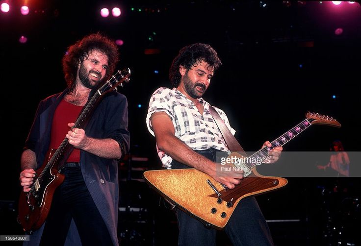 American rock band 38 Special performs at the Poplar Creek Music Theater in Hoffman Estates, Chicago, Illinois, July 19, 1986. Pictured are, from left, Larry Junstrom and Don Barnes.