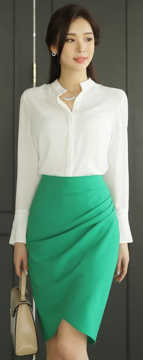 StyleOnme_Shirred Wrap Style Pencil Skirt #green #feminine #pencilskirt #spring #kstyle #koreanfashion #seoul #skirt