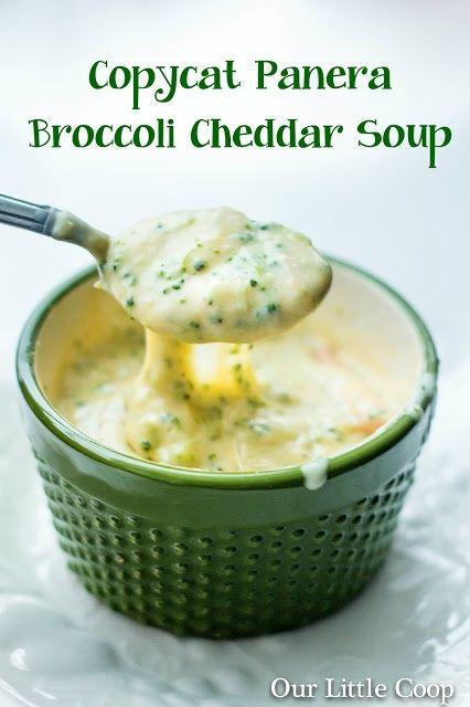 Copycat Panera Bread Broccolihttp://www.grouprecipes.com/65970/copycat-panera-bread-broccoli-and-cheese-soup-in-bread-bowls.html