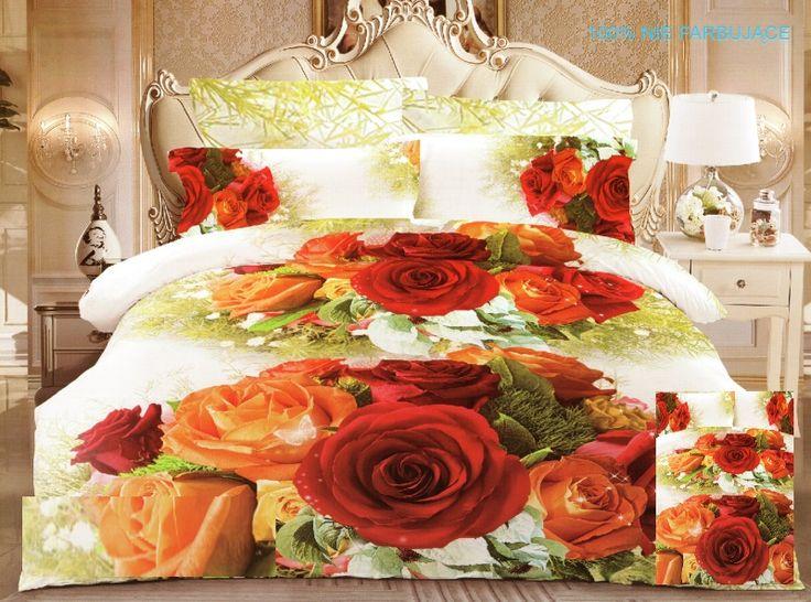 Pościel z satyny bawełnianej w kolorze kremowym w kolorowe róże