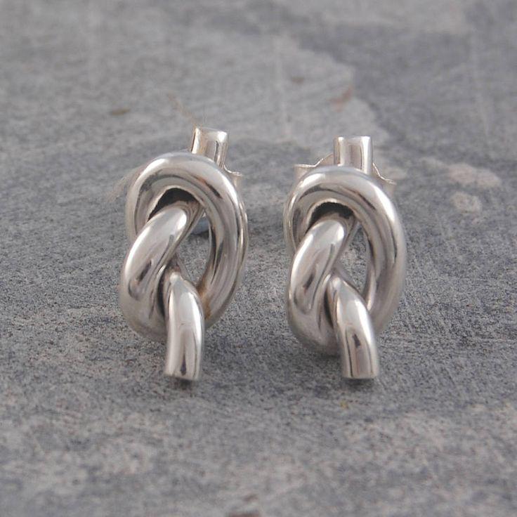 knot sterling silver large stud earrings by otis jaxon | notonthehighstreet.com