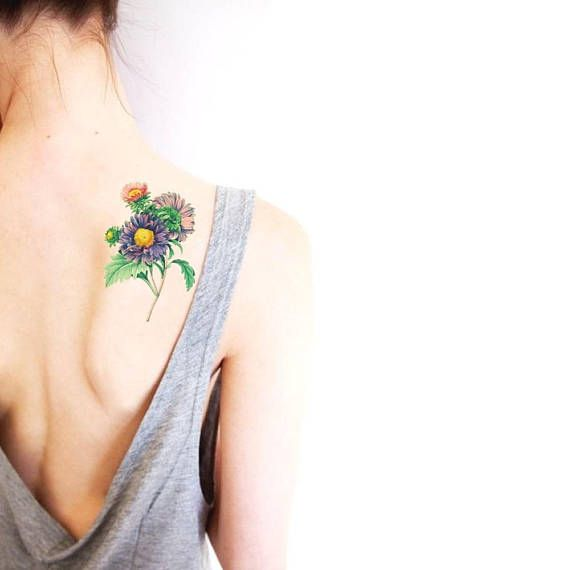 Summer flowers big temporary tattoo / floral illustration