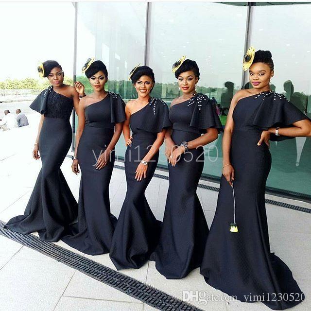 African Black Mermaid Brdesmaid Dresses 2020 One Shoulder Sweep Train Ruffles Beads Garden C Maid Of Honour Dresses Nigerian Bridesmaid Dresses Bridemaid Dress