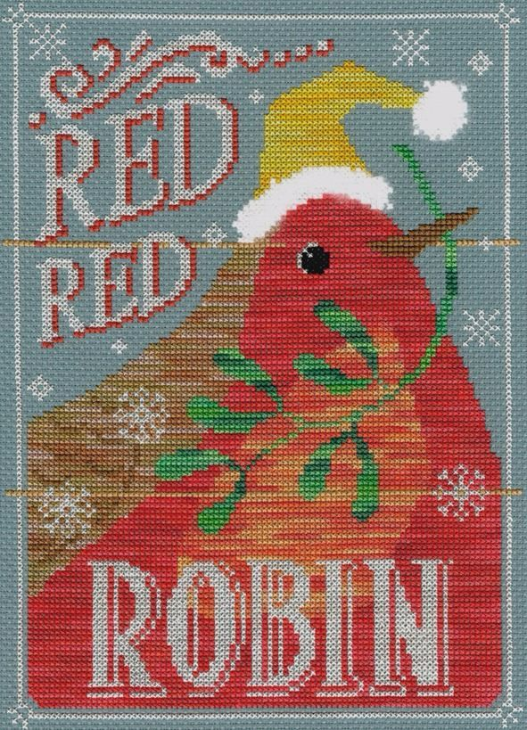 Red Red Robin Christmas Cross Stitch kit by Bothy Threads - vintage style.