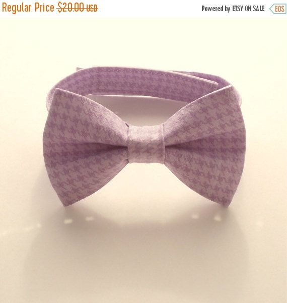 Boy's Bow Tie, Lilac Houndstooth, Toddler Bow Tie, Purple Baby Bow Tie, Ring Bearer, Lavender